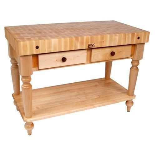 [John Boos American Heritage Rustica Natural Maple Butcher Block and Base with Shelf] (Shelf Butcher Block Lower)