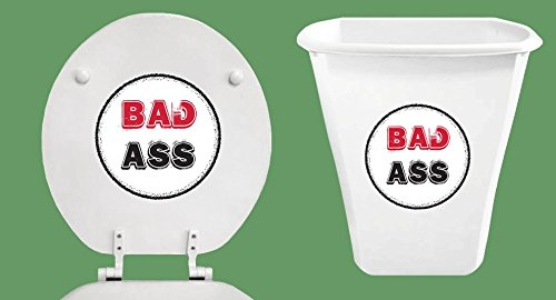New White 2 Piece Set! Trash Can and Molded Wood Round Toilet Seat featuring Bad Ass - Bad Hinges Ass