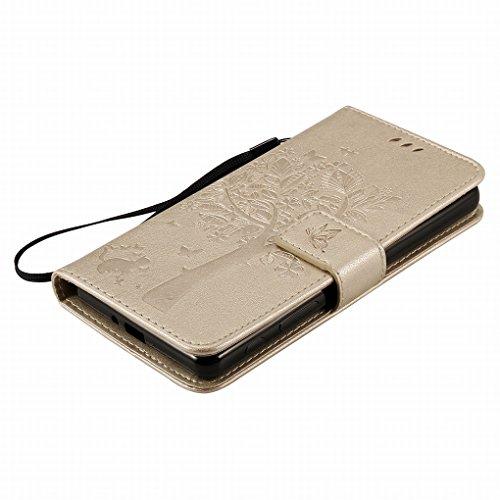Custodia Sony Xperia X PerCustodiamance Cover Case, Ougger Alberi Gatto Printing Portafoglio PU Pelle Magnetico Stand Morbido Silicone Flip Bumper Protettivo Gomma Shell Borsa Custodie con Slot per Sc