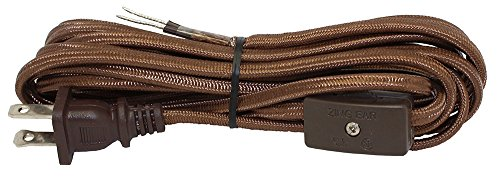 iLightingSupply 56-8830-45 Rayon Covered Lamp Cord Set with Switch Installed, Brown Rayon