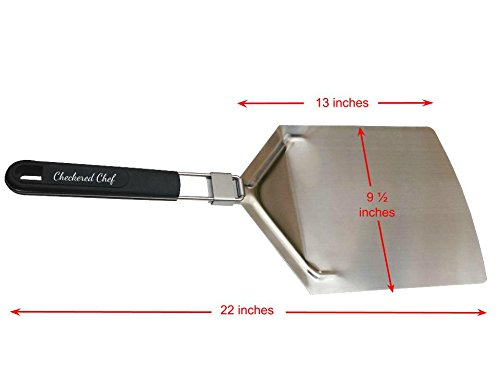 checkeredchef Stainless Steel Pizza Peel With Folding Handle, Paddle Size 9.5 x 13 Inches