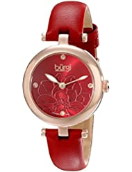 Burgi Womens BUR128RD Diamond Accented Flower Dial Rose Gold & Red Leather Strap Watch