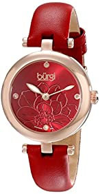 Burgi Women's BUR128RD Diamond Accented Flower Dial Rose Gold & Red Leather Strap Watch