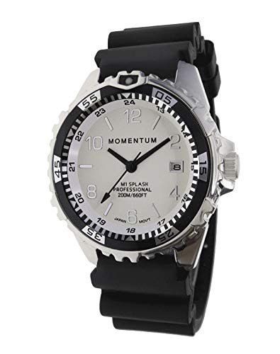 Momentum Men & Women's Dive Series Quartz Sports Watch - M1 Splash | Water Resistant, Easy to Read White Luminous Dial, Date, Screw Crown, Stainless Steel Case & Bezel | Japanese Mvmt | Analog