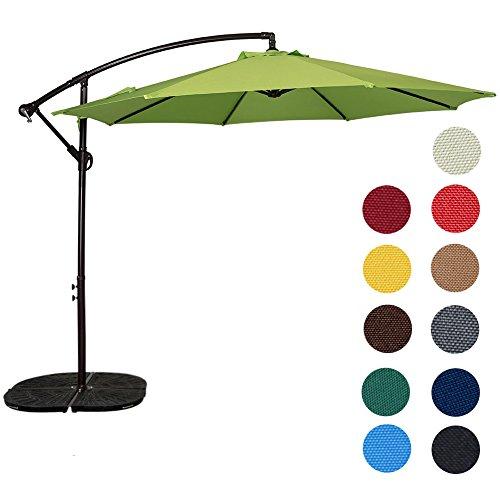 Sundale Outdoor 10 Feet Aluminum Offset Patio Umbrella with Crank, 8 Steel Ribs (Apple Green)