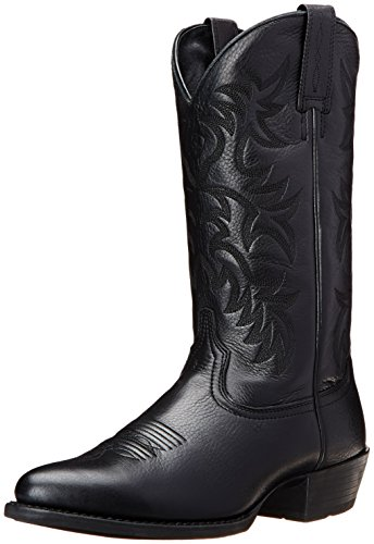 Ariat Men's Heritage Western R Toe Cowboy Boot, Black Deer Tan, 8.5 EE US