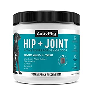 ActivPhy Hip + Joint Supplement for Dogs (75 Soft Chews) | Joint, Cartilage & Muscle Support, Vet Formulated, Made in USA