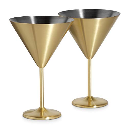 VonShef 16oz Gold Martini Cocktail Glasses, Brushed Gold Stainless Steel, Set of 2 with Gift Box -