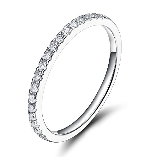 EAMTI 2mm 925 Sterling Silver Wedding Band Cubic Zirconia Half Eternity Stackable Engagement Ring Size 7 (Platinum Wedding Band 2mm)