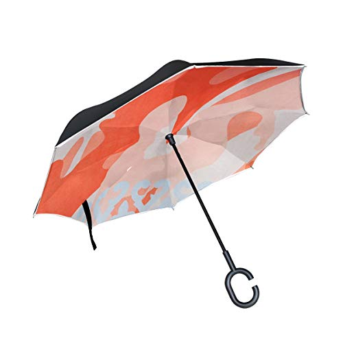 (Double Layer Inverted Red Fabric Texture Softness Textile Detail Macro Umbrellas Reverse Folding Umbrella Windproof Uv Protection Big Straight Umbrella For Car Rain Outdoor With C-shaped Handle)