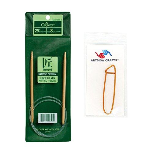 Clover Needlecraft Takumi Bamboo Circular Knitting Needles 29 inch Size 13/9mm Bundle with 1 Artsiga Crafts Stitch Holder 3016/29 13