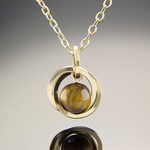 20 Inch 14K Yellow Gold Fill Tiger Eye Gemstone Pendant Necklace