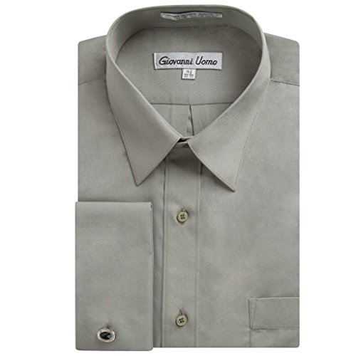 (Gentlemens Collection Men's French Cuff Solid Dress Shirt (Cufflink Included) (Smoke Grey, 17.5\ Neck 36/37\