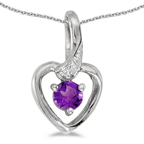 FB Jewels Solid 14k White Gold Genuine Birthstone Round Amethyst And Diamond Heart Pendant (1/6 Cttw.)