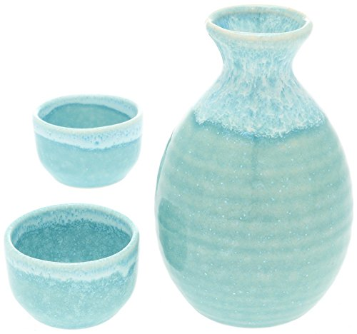 Kotobuki Sake Set Light Blue with White Drip - Junmai Daiginjo Sake