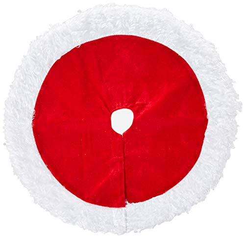 (Darice 3814-065 Miniature Red Velvet Tree Skirt, White Plush Border, 18