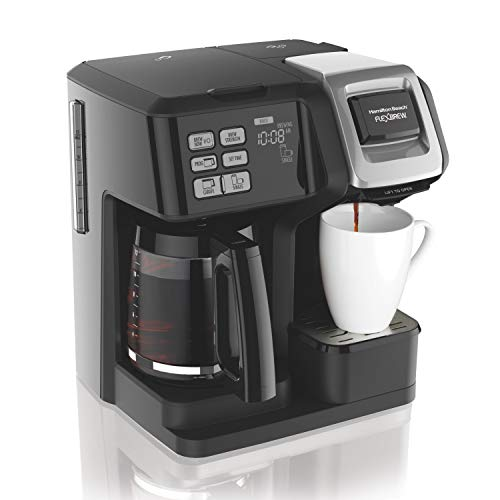 Hamilton Beach 49976 FlexBrew Coffee Maker, Single Serve & Full Pot, Compatible with K-Cup Pods or Grounds, Programmable, Black (49976) Programmable Black