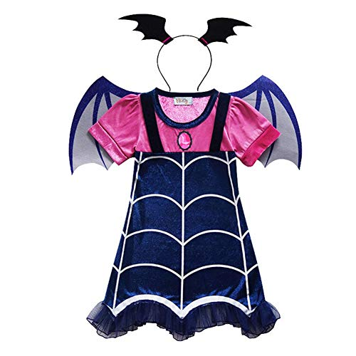 (Vampirina Cartoon Deisign Half Sleeves Costumes Dress For Party Celebration (110/2-3Y,)