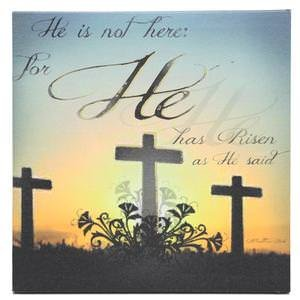 - Flickering Light He Has Risen Inspirational Canvas Wall Plaque