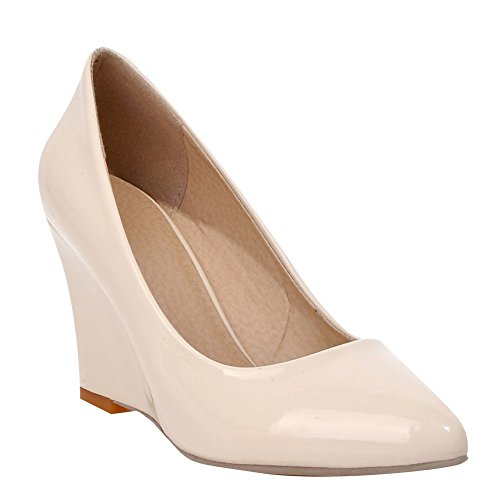 Charm Foot Womens Wedge High Heel Pointed Toe Pumps Shoes Apricot j2c0fOXGO