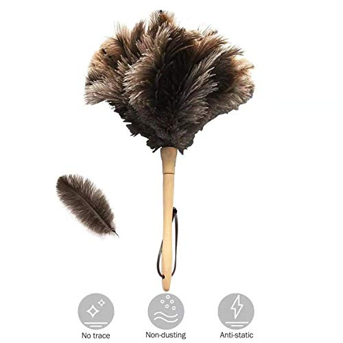 "Ostrich Feather Duster,Feather Duster Fluffy Natural Genuine Ostrich Feathers with Wooden Handle and Eco-Friendly Reusable Handheld Ostrich Feather Duster Cleaning Supplies, Gray and Brown(Length 16"")"