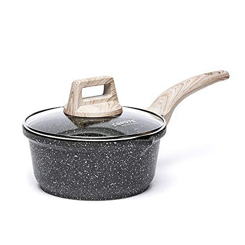 Carote 6.3 Inch/1 Quart Sauce Pan with Glass Lid,Soup Pot Nonstick Saucepan Granite Coating from Switzerland