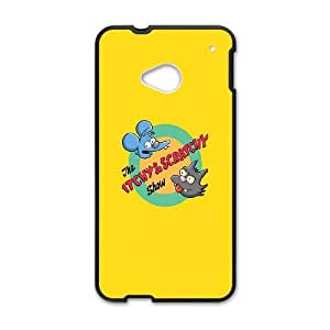HTC One M7 Cell Phone Case Black_Itchy And Scratchy Bgybl