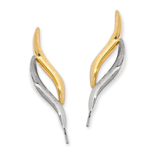 Orogem Sterling Silver Two Tone Double Curves Ear Pin Style Earrings by Orogem