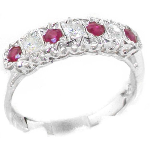 925 Sterling Silver Natural Ruby and Diamond Womens Eternity Ring (0.18 cttw, H-I Color, I2-I3 Clarity) by LetsBuySilver