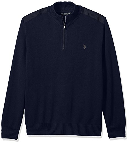 Mens Polo Neck Sweaters - U.S. Polo Assn. Men's Quilted Shoulder 1/4 Neck Sweater, Midnight Heather, Medium