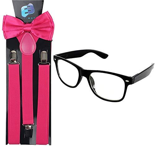Enimay Suspender Bowtie Nerd Clear Glasses Nerd Costume Halloween (Hot Pink -