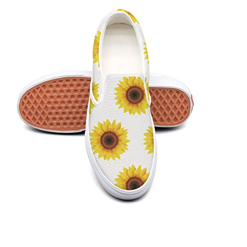 Lalige Sunflower floral repeat Women Comfortable Canvas Slip-ons Sneakers Shoes by Lalige