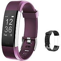 Lintelek Montre de suivi d'activité avec moniteur de fréquence cardiaque, compteur de pas et de calories avec bande de remise en forme intelligente étanche Grand Violet