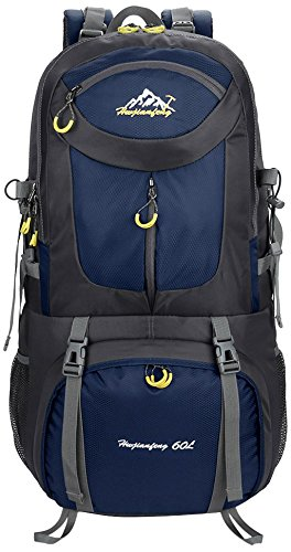 Hiking Backpack, 50L Waterproof Huwaijianfeng Backpack Outdoor Sport Daypack with a Rain Cover for Climbing Mountaineering Fishing Travel Cycling