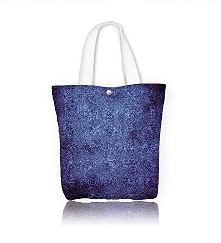 Women's Canvas Tote Bag Navy Blue M ian Alien Skin Like Dark Blue Contemporary Interesting Design Dark Blue work school Shoulder Bag W14xH15.7xD4.7 INCH