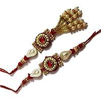 Golden Pearl Bhaiya Bhabhi Lumba Rakhi For Brother