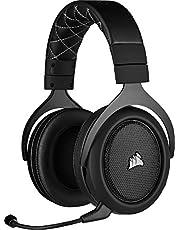 Corsair HS70 Pro Wireless Gaming Headset (7.1 Surround Sound, Ultraniedrige Latenz, 12 Meter Reichweite, Federleichtes Design, Abnehmbares Rauschunterdrückung-Mikrofon, für PC und PS4) carbon