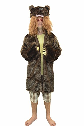 Oem Men's Workaholics Grizzly Bear Coat Costume With Glasses M Brown -