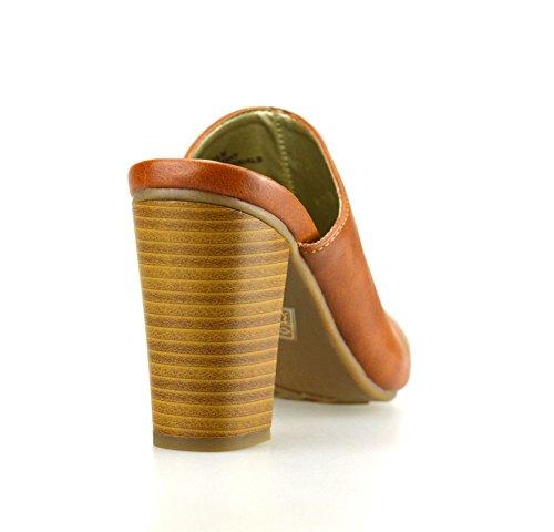 Ladies Womens New High Block Heel Slip On Mules Clogs Summer Sandals Shoes Tan tVaFIQNZl