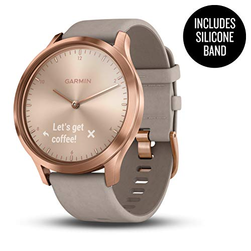 Garmin 010-01850-19 vívomove HR, Hybrid Smartwatch for Men and Women, One Size fits Most, Rose Gold with Suede Band