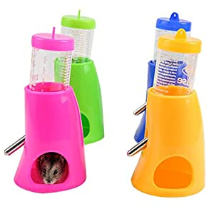 Hanging Pet Water Bottle for Small Pet, Gotd 2 in 1 Hamster Water Bottle Holder 80ML Dispenser With Base Hut Small Pet Nest (Ramdom 1pc)