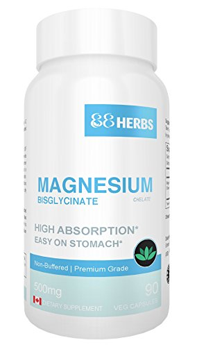 Magnesium Bisglycinate - Highest Absorption - Premium Grade - No Fillers - Non Buffered - 90 Veg Caps - 500mg Magnesium Bisglycinate per cap (50mg Elemental Magnesium)