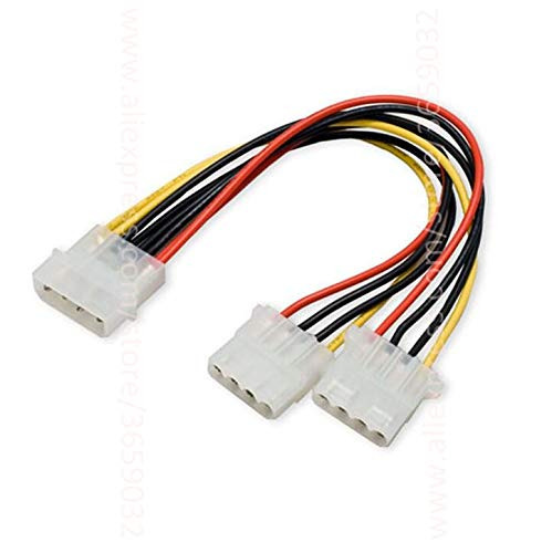 Computer Cables Molex 4 Pin Cable Male to Molex 4pin Female x2 Power Supply Y Splitter Extension Cables 20CM Cable Length: 0.2m