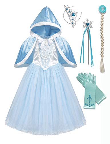Girls Princess Cinderella Costume Cosplay Fancy Party Dress for Halloween, Light Blue (Blue, 2-3 Years) -