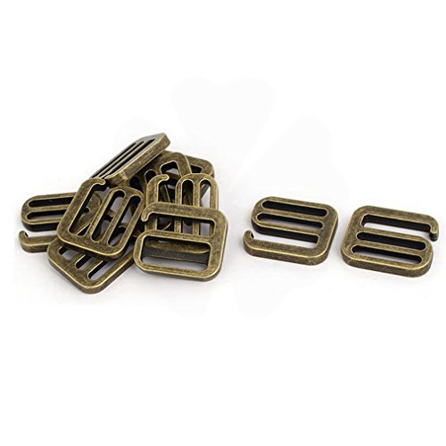Fuxell Latches 33.5mmx28mmx5mm Strap Adjustable Buckle Rings Slides Hooks Bronze Tone 10pcs