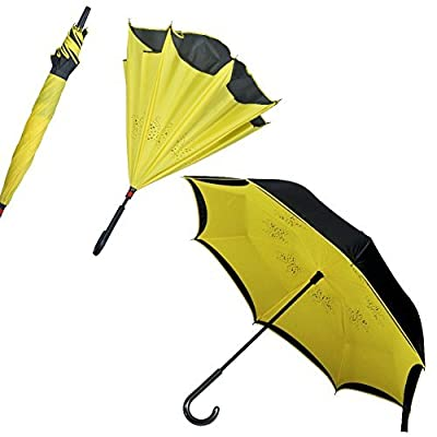 Premium Double Layer Inverted Umbrella For Car By AmbrellaOK Reverse Folding C-Shaped Hands Free Handle - Compact Lightweight & Windproof – Ideal Gift Men & Women