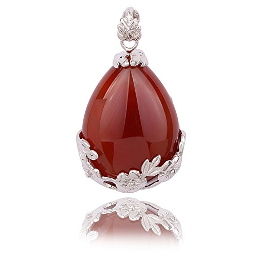(Beautiful Wire Wrap Silver-Plated Inlay Gemstone Jasper Teardrop-shaped Stone Pendant (Red Agate))