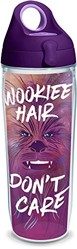 - Tervis 1294324 Star Wars-Wookiee Hair Don't Care Insulated Tumbler with Wrap and Purple Lid, 24 oz, Clear