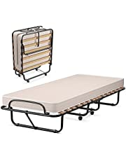 KOTEK Folding Bed with Mattress, Portable Guest Bed Rollaway with Memory Foam Mattress & Metal Frame, Foldable Bed Frame Cot Size for Bedroom, School, Office
