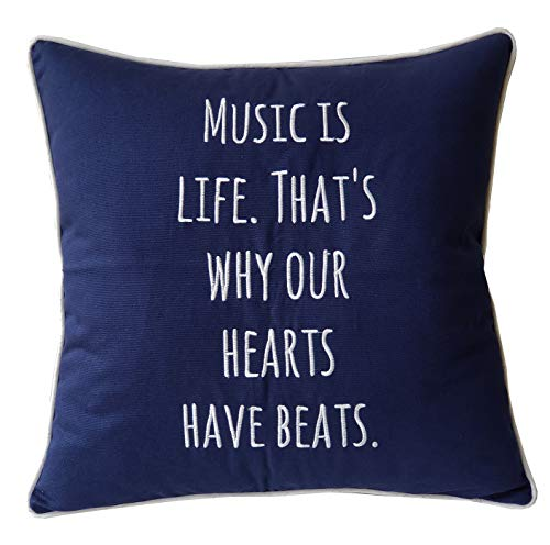 EURASIA DECOR DecorHouzz Music Lover Embroidered Pillow Cover Gift Music Teacher Guitar Player Piano Player Graduation Teen Wedding (18